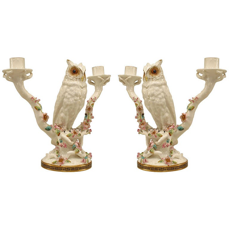Pair of Mid-19th Century English Porcelain Owl Candelabras For Sale