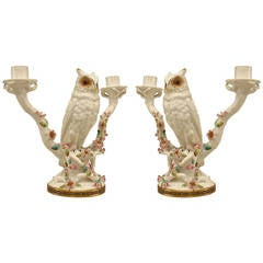 Pair of Mid-19th Century English Porcelain Owl Candelabras
