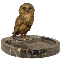 French Owl Ashtray, c. 1900