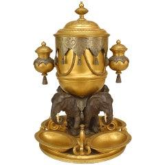19th c. English Regency Style Bronze Humidor Centerpiece