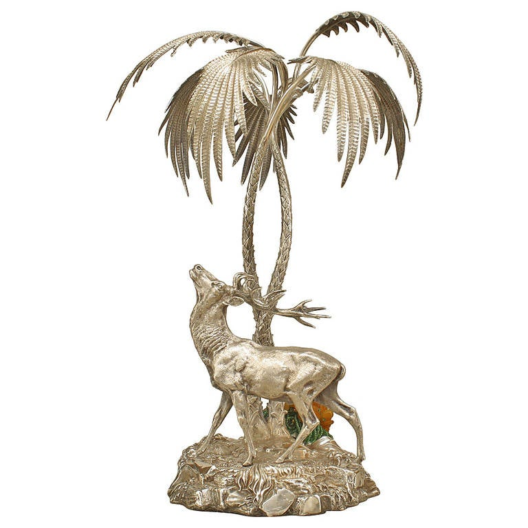 Late 19th c. English Silver-Plated Bronze Stag Centerpiece