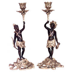 Pair of 20th c. French Louis XV Style Figural Candlesticks