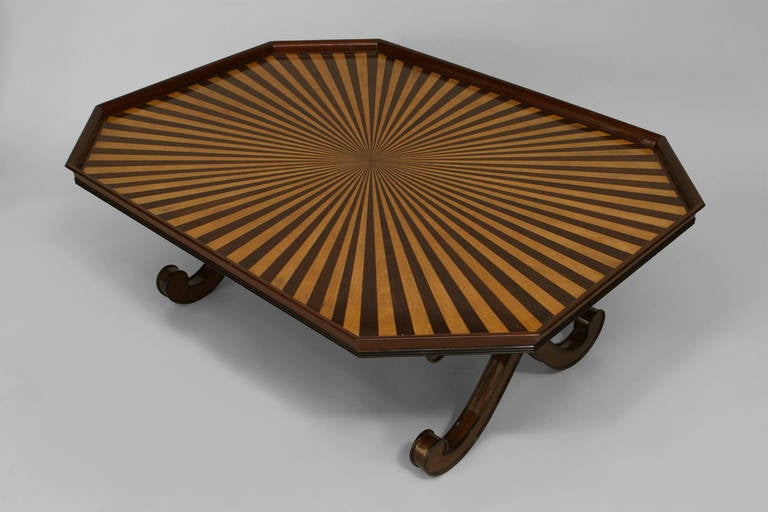 British 20th c. English Regency Style Sunburst Tray Top Table For Sale