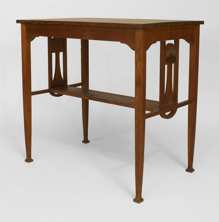 Small english arts and crafts pewter inlaid oak desk for for Crafting desks for sale