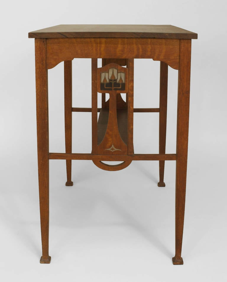 Small English Arts And Crafts Pewter Inlaid Oak Desk For Sale At 1stdibs