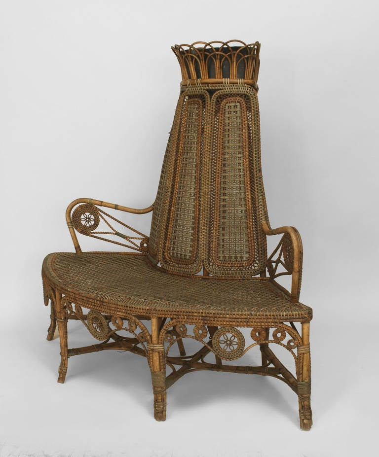 19th Century French Wicker Corner Loveseat By Perret Et