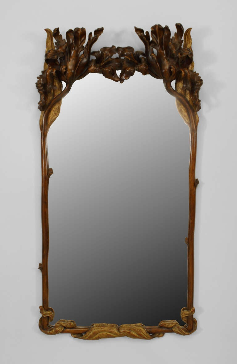 20th C Art Nouveau Parcel Gilt Wall Mirror At 1stdibs