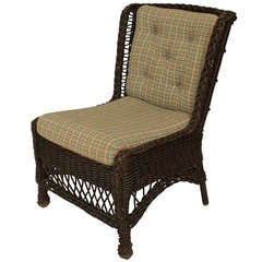 19th c. Upholstered Wicker Wingback Chair by Heywood-Wakefield