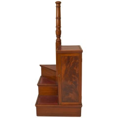 English Regency Spiral Library Ladder and Cabinet