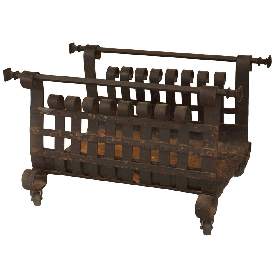 American Mission Style Wrought Iron Log Holder