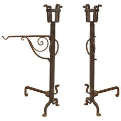 Pair of Turn of the Century American Mission Andirons