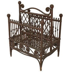 19th c. American Wicker Magazine Rack