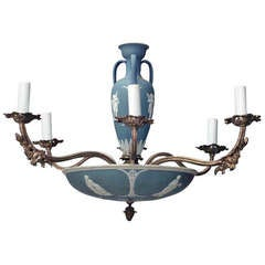19th c. English Chandelier with Wedgwood Porcelain Elements