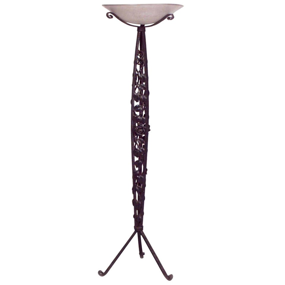 French Art Deco Wrought Iron Floor Lamp by Mulaty