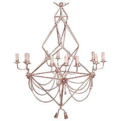 20th c. Gilt Rope and Tassel Design Chandelier