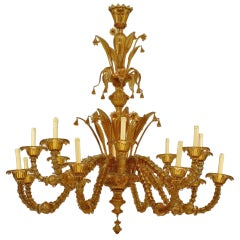 Large Amber Tinted Murano Glass Chandelier by Salviati, c. 1890