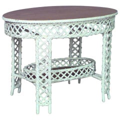 American Victorian Heywood Wakefield Wicker Center Table