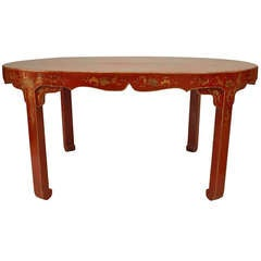 19th Century Chinese Gilt-Decorated Red Lacquer Center Table