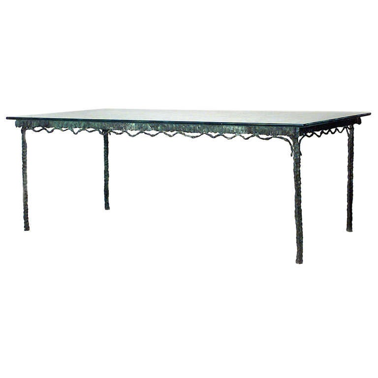 Mid-Century French Etched Glass and Verdigris Bronze Dining Table