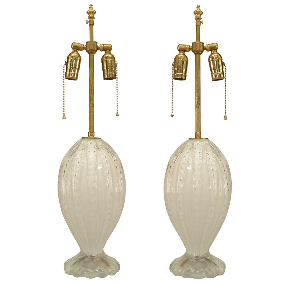 Pair of Italian Murano White Iridescent Glass Table Lamps