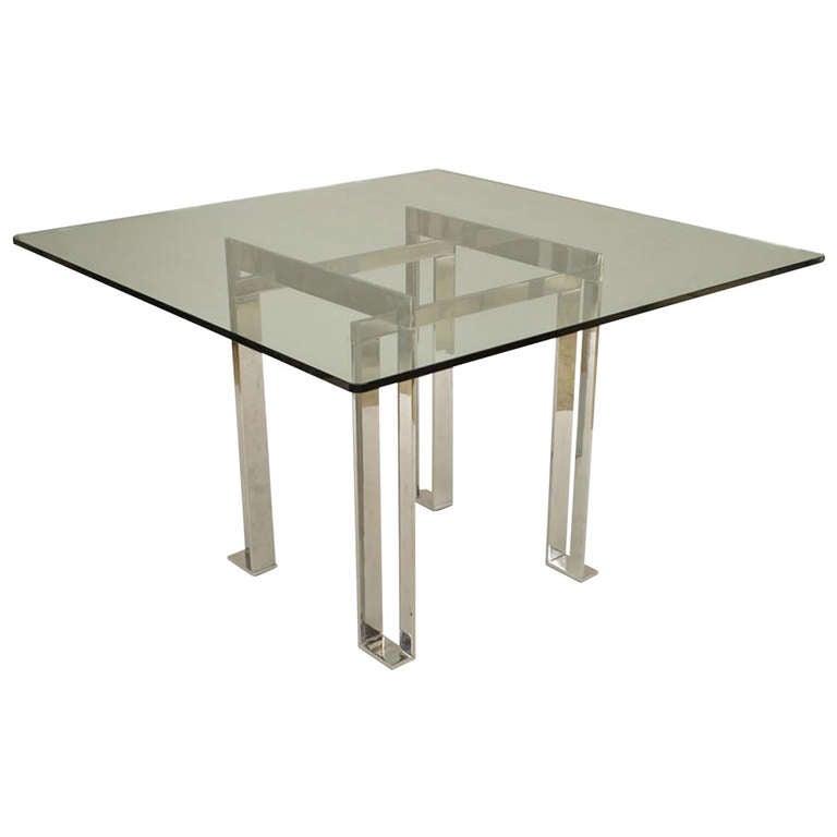 Mid-Century Italian Glass and Chrome Coffee Table