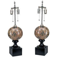 Pair of Mid-Century Italian Marble Table Lamps