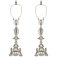 Pair of English Regency Style Silverplate Camel Table Lamps