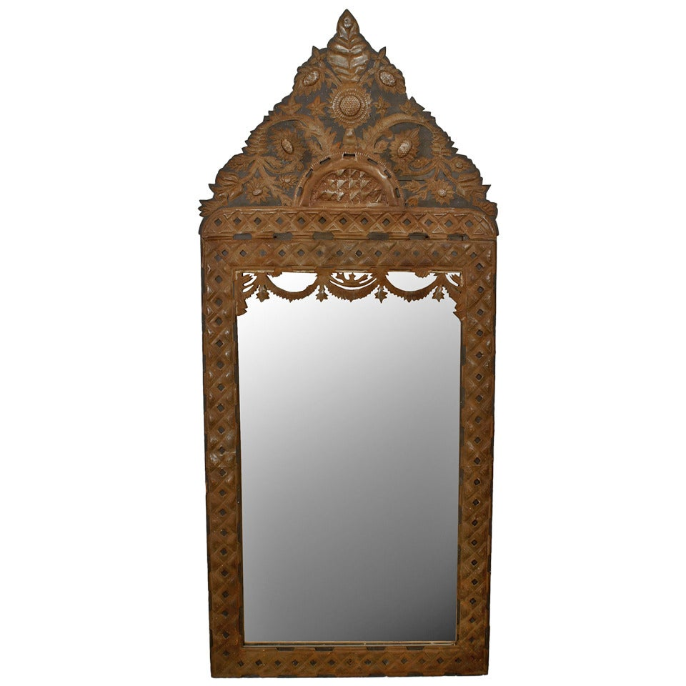 Mexican Stamped Metal and Ebonized Wood Pediment Top Wall Mirror