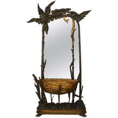 Unusual 19th c. French Gilt Carved Cheval Mirror