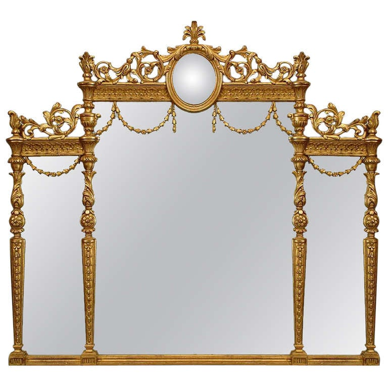 English adam style gilt triptych wall mirror for sale at for Adam style mirror