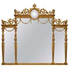 English Adam Style Gilt Triptych Wall Mirror