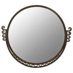 Round Art Deco Wall Mirror Attributed to Raymond Subes