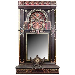19th c. Moorish Style Decorated Wall Panel with Mirror and Clock