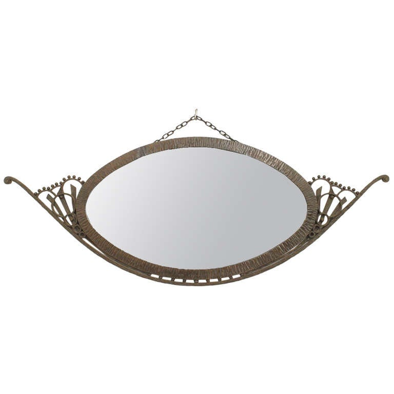 Art Deco Wall Mirror wrought iron art deco wall mirror attributed to raymond subes for