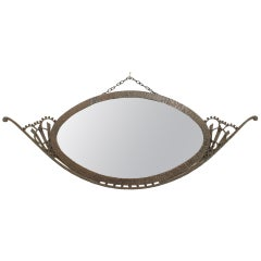 Wrought Iron Art Deco Wall Mirror, Attrib. to Raymond Subes