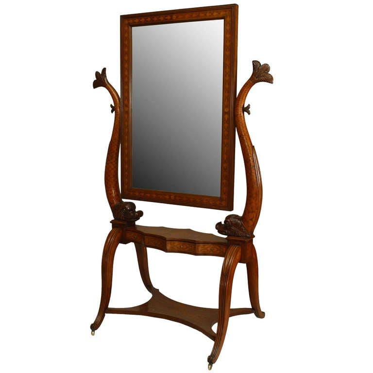 19th c. Italian Neoclassic Inlaid and Carved Cheval Mirror