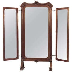 French Art Nouveau Triptych Cheval Mirror Attributed to Louis Majorelle