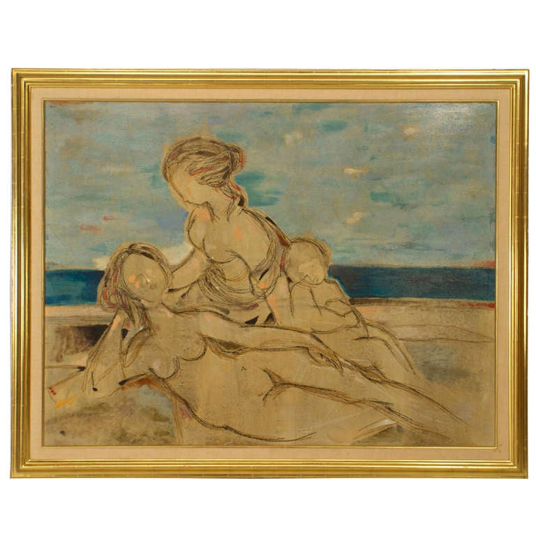 """Oil on Canvas Beach Scene Titled """"La Spiaggia"""" by Donati, 1961"""