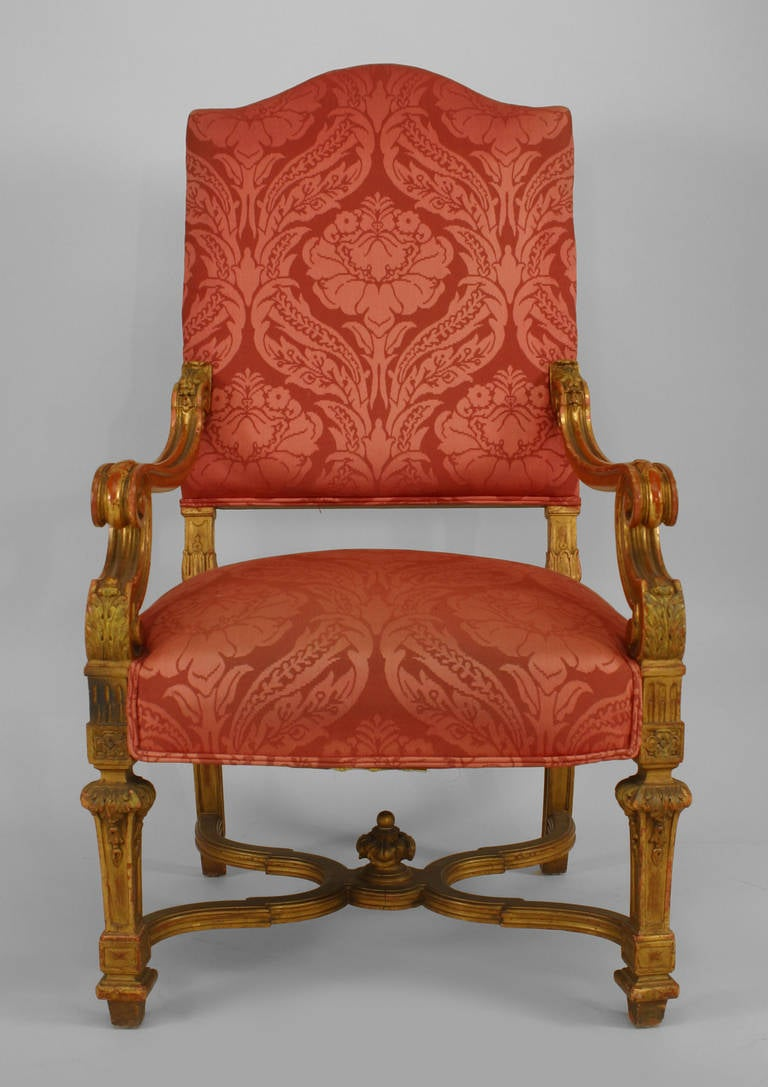 Set Of 9 19th C French Louis Xiv Upholstered Giltwood Chairs For Sale At 1stdibs