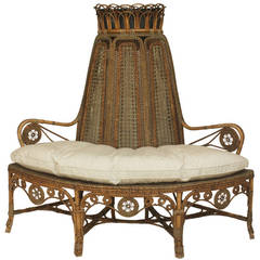19th Century French Wicker Corner Loveseat, by Perret et Vibert