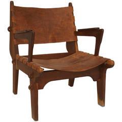 1950's Swedish Modernist Teak and Leather Armchair