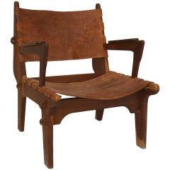 1950's Swedish Modernist Teak and Leather Armchair