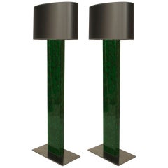 Pair of Mid-Century French Fouquieres Green Resin Floor Lamps