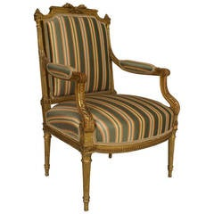 19th c. French Louis XVI Style Gilt Carved Armchair
