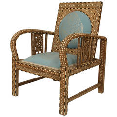 Turn of the Century Inlaid & Upholstered Moorish Armchair