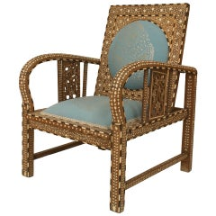 Turn of the Century Inlaid and Upholstered Moorish Armchair