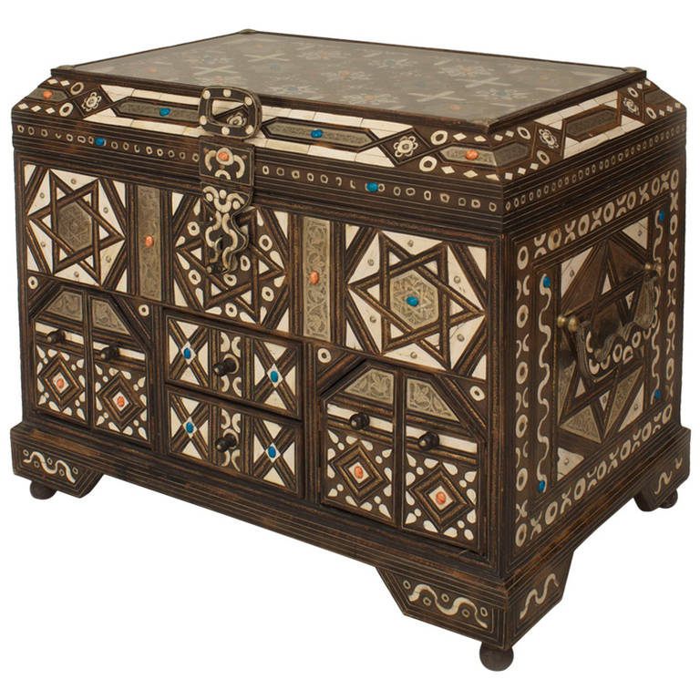 20th C Middle Eastern Inlaid Ceremonial Chest For Sale At 1stdibs