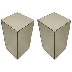 Pair of Late 20th c. American Mirrored Pedestals by David Barrett
