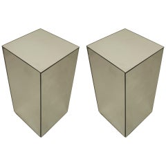 Pair of Late 20th c. American Mirrored Pedestals by David Barrett