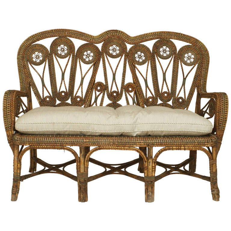 two 19th century french wicker loveseats by perret et vibert 1